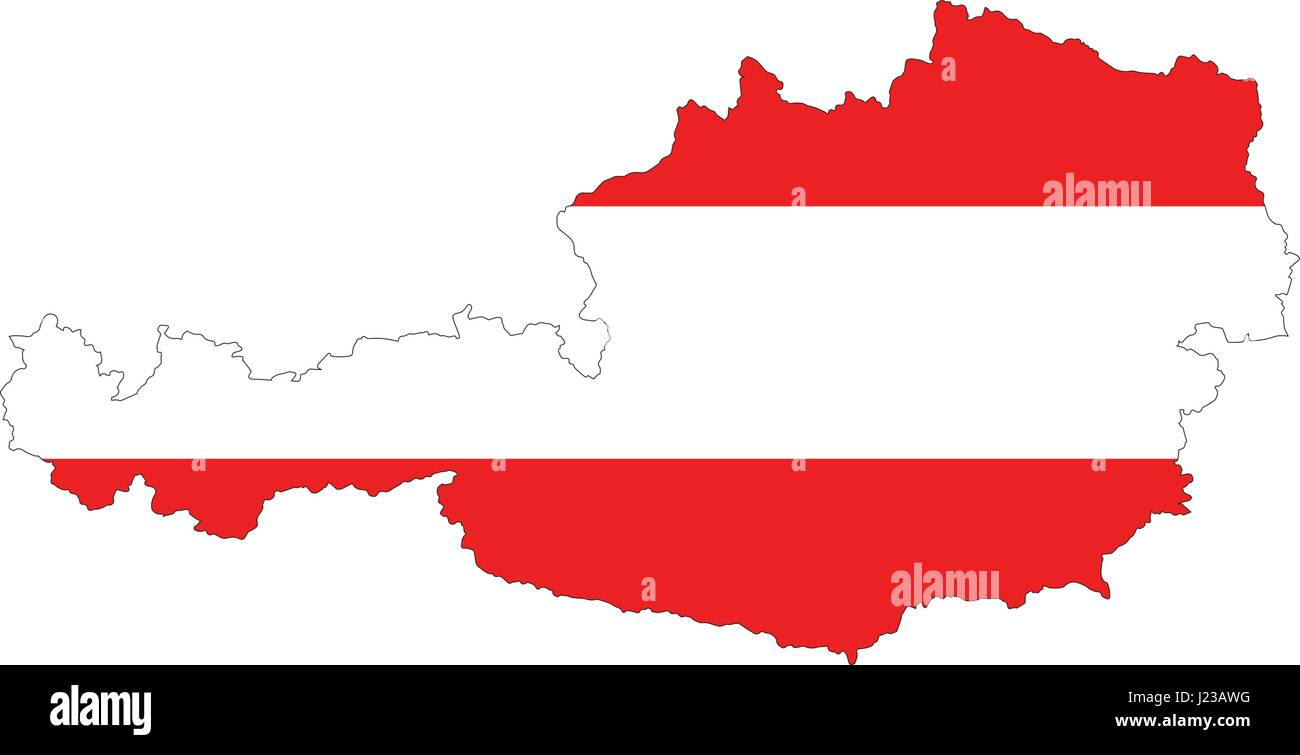 High Resolution Austria Map With Country Flag Flag Of The