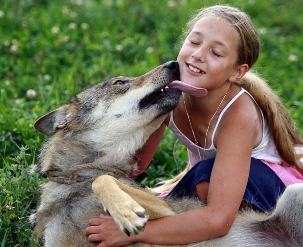 Alisa Selekh brinca com lobo de estimação (Foto: Sergei Gapon/AFP)