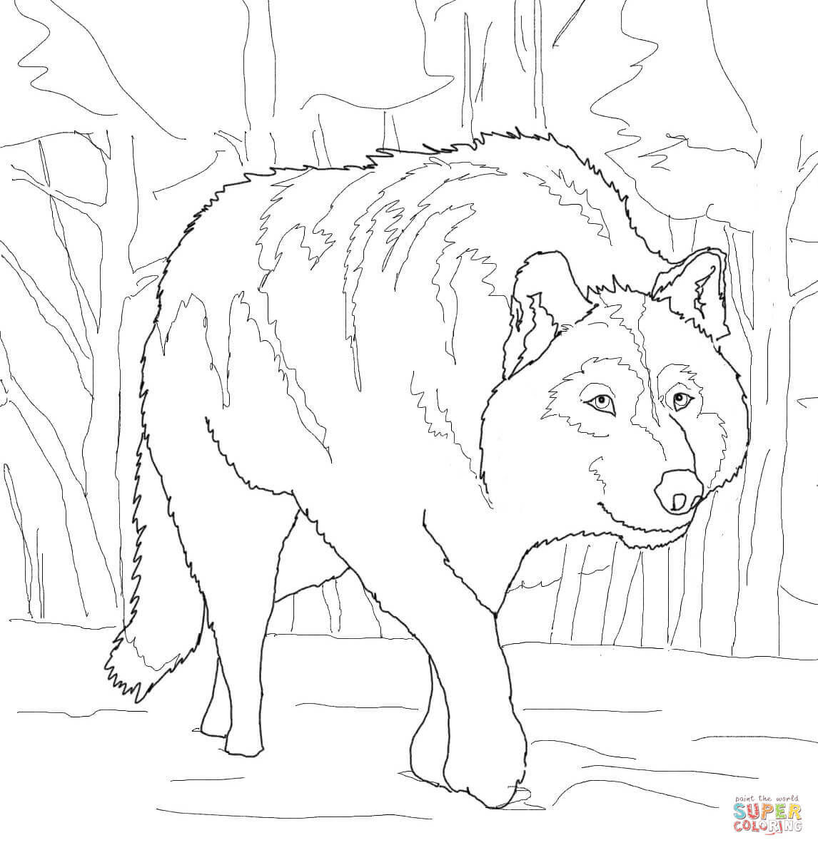 Crouching Gray Wolf coloring page   Free Printable ...