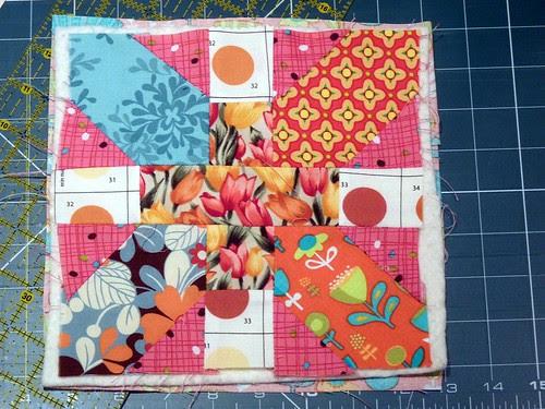 WIP - X&+ block as a mug rug.