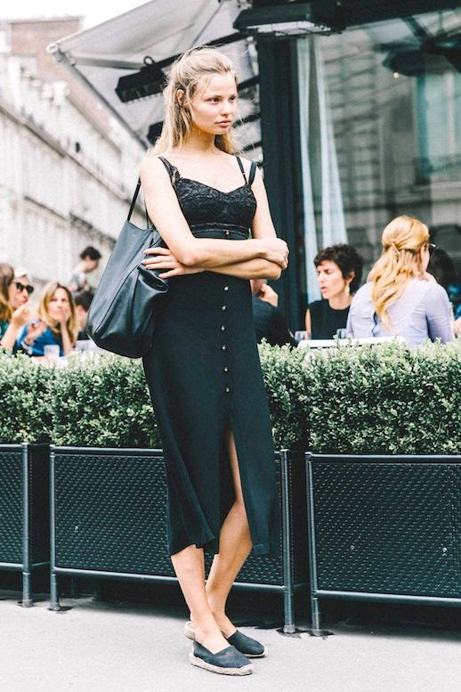 Le Fashion Blog Model Style All Black Look Magdalena Frackowiak Lingerie Inspired Dress Tote Bag Espadrille Flats Via Vogue Spain