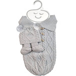 NYGB Fisherman Cable Snuggle Sack, Pom-Pom Hat and Booties
