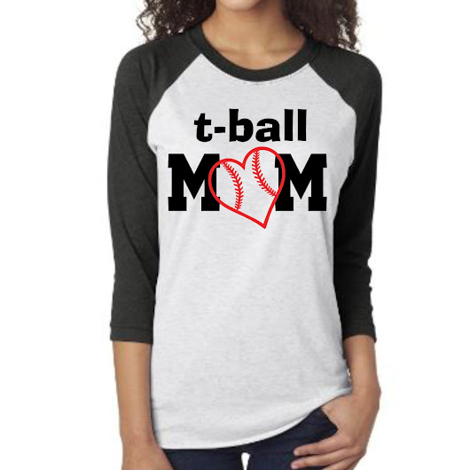 Tball Mom Shirt, Raglan Shirt, Ladies Tshirt, Womens Tshirt, Tball Tshirt, Sports shirt, Gift for her, Gift for Mom, Custom tshirt