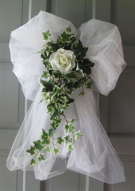 Wedding Decorations Rose Ivy Tulle Bows Pews Doors Chairs