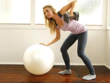 3. Bent-over rows on a swiss ball
