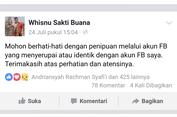 Akun Facebook Wakil Wali Kota Surabaya Dipalsukan