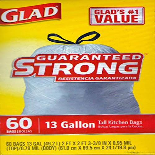 Glad Tall Drawstring Kitchen Bags with Reinforcing Bands, 13 Gallons - 60 count