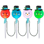 Lightshow Synchro Lights Color-Changing Snowman Pathway Stakes, Set of 4, Size: 25