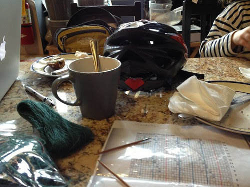 Evidence of coffee (and knitting!)