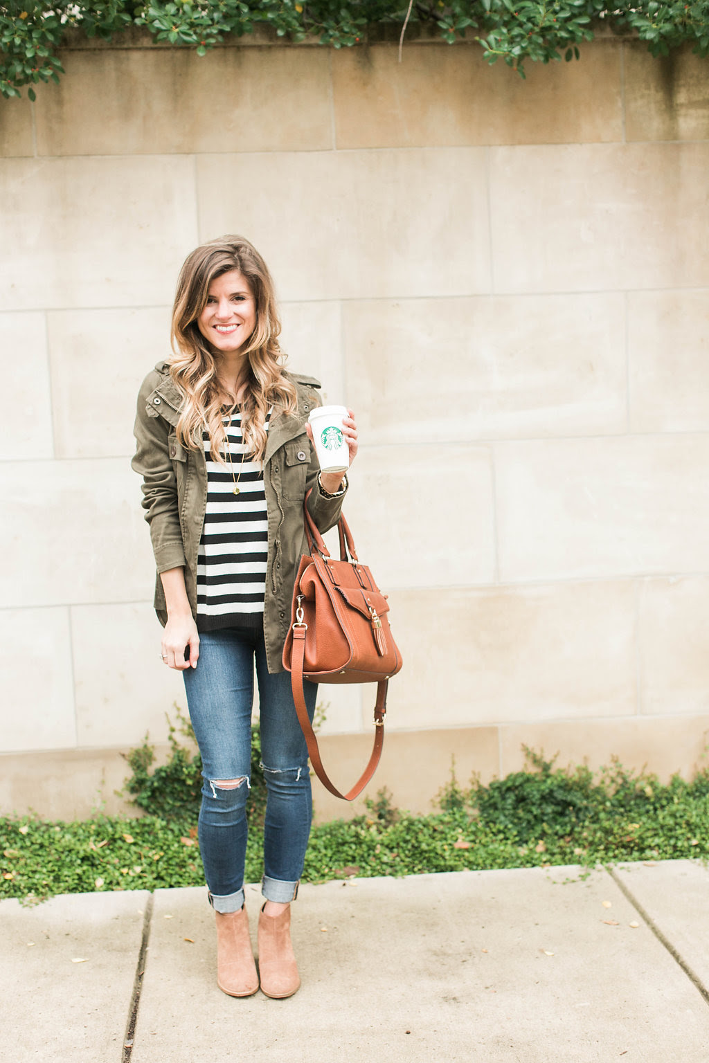 simple  cute fall outfit idea  stripes  cognac  green
