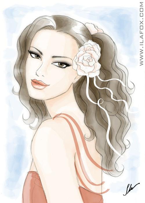 Mulher de cabelos enrolados com flor no cabelo, romana, ilustração by ila fox