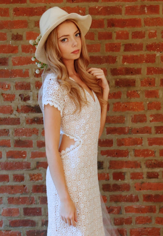 Bohemian Wedding Dress Cap Sleeve Cut Out by DaughtersOfSimone