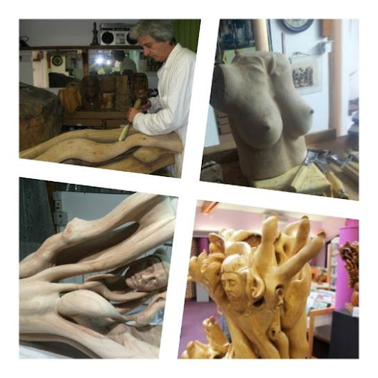 The art of the woodcarving with a wood carver