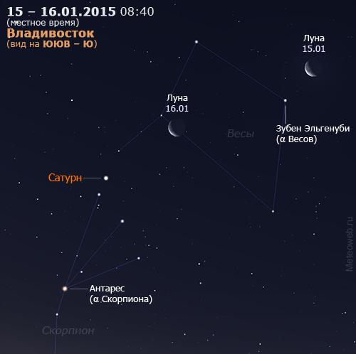 Убывающая Луна и Сатурн на утреннем небе Владивостока 15–16 января 2015 г.