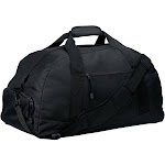 BG980 Port & Company Unisex Adult Gym Bag Improved Basic Large Duffel Black | The Deal Rack