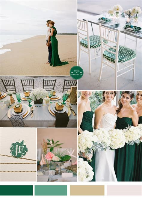 emerald dark green beach wedding ideas and bridesmaid