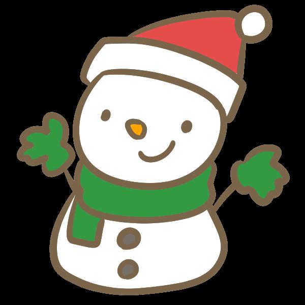 サンタ帽子の雪だるま赤のイラスト かわいいフリー素材が無料の
