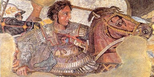 Detail from the famous Alexander mosaic from Pompeii showing Alexander in full battle against Darius III, the Persian king.