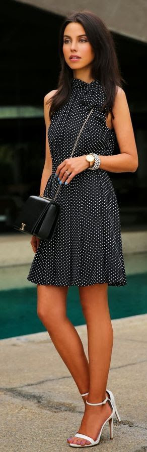 Awesome Express Black Dotted Dress - The best street fashion inspiration & looks