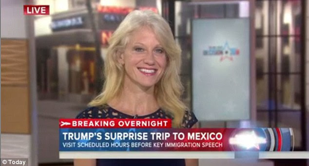 Donald Trump's campaign manager Kellyanne Conway stopped by the 'Today' show set and touted her boss' meeting with the Mexican president saying it made him look 'presidential'