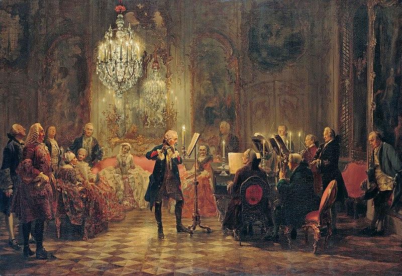 File:Adolph Menzel - Flötenkonzert Friedrichs des Großen in Sanssouci - Google Art Project.jpg