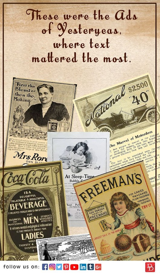 These were the ads of Yesteryears, where text mattered the most. | Design Den Cruise | Pinterest