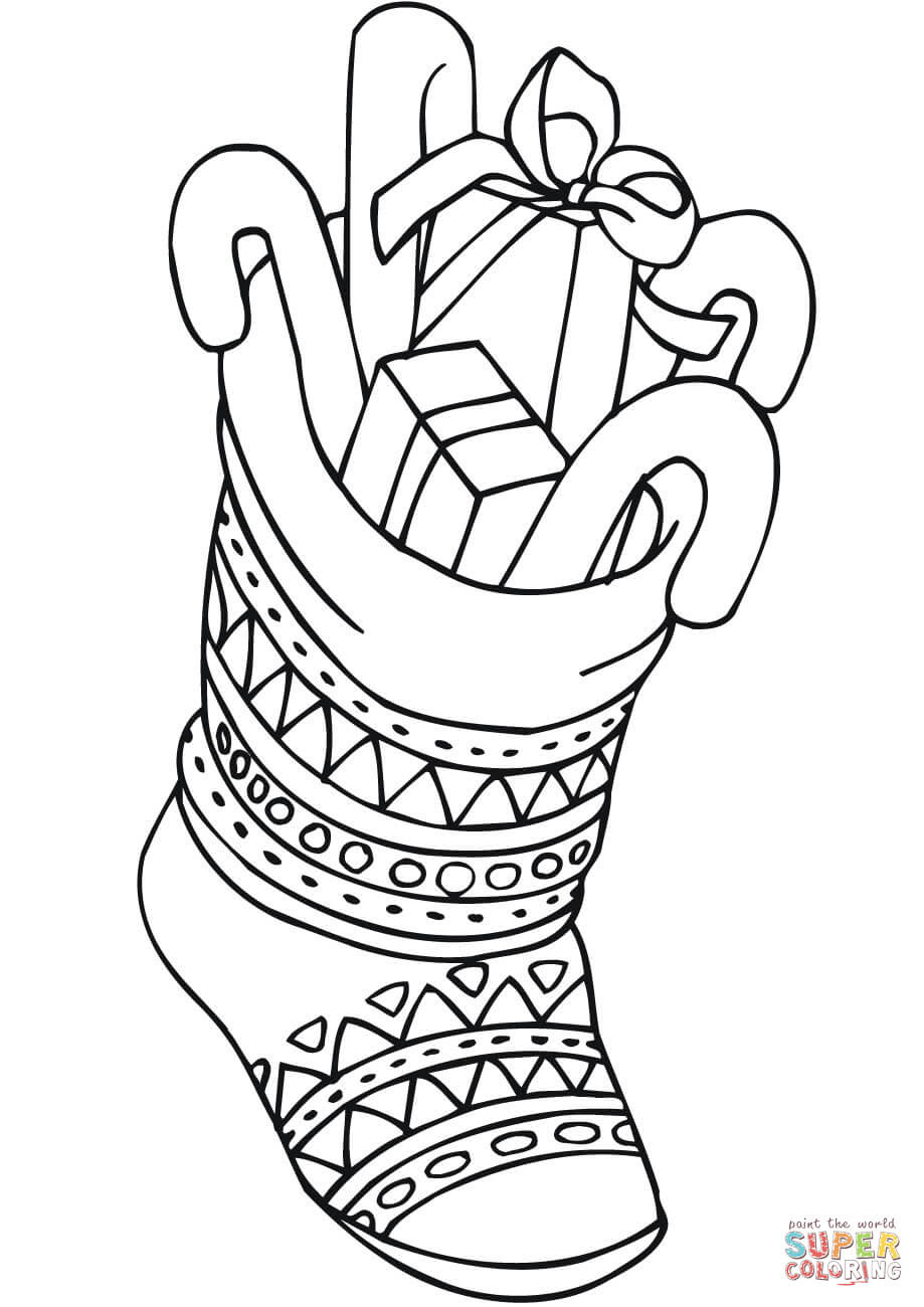 Christmas Stocking with Lots of Gifts coloring page | Free ...