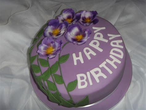 Purple Pansies Birthday Cake   CakeCentral.com