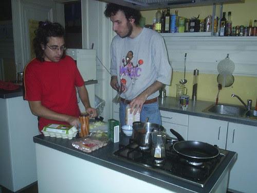 Rafa and Tejo cooking