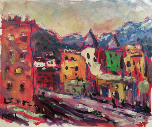 Old Town Landscape (2016) Acrylic painting by Russ  Potak