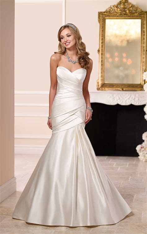 Elegant Satin Fit & Flare Wedding Dress   Stella York