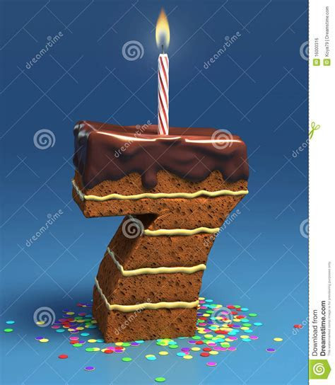 Number Seven Shaped Birthday Cake Royalty Free Stock Image