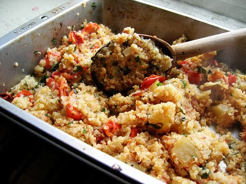 alla Poppy: Quinoa with Roasted Potatoes, Garlic, Tomatoes, and Basil