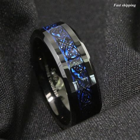 Details about 8/6mm Tungsten Carbide Ring Black Celtic