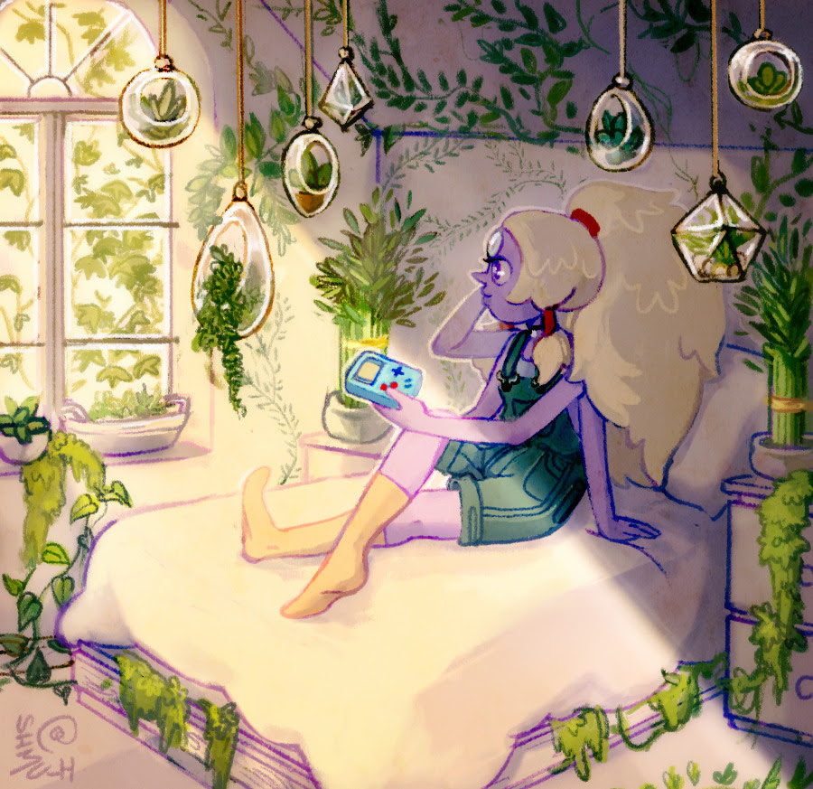 pearl and amethyst hanging out in a room with a ton of plants Also in this series: Smoky Quartz