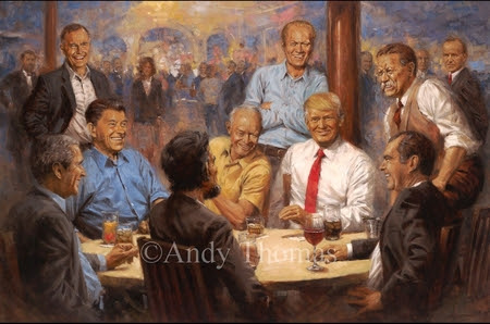 "Andy Thomas Artist Signed and Numbered Limited Edition Giclee:""The Republican Club with Donald Trump"" - New Arrivals"