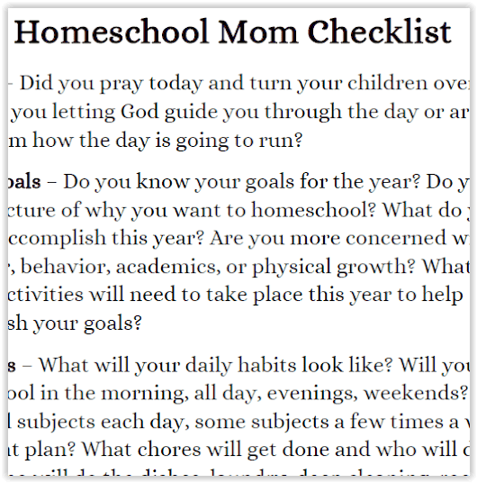 Get this handy homeschool mom checklist to stay focused.