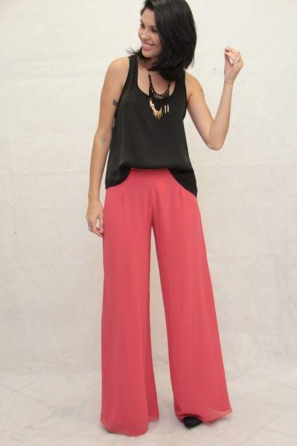 E.commerce: Calça flare alfaiataria fem. crepe de seda Rosa