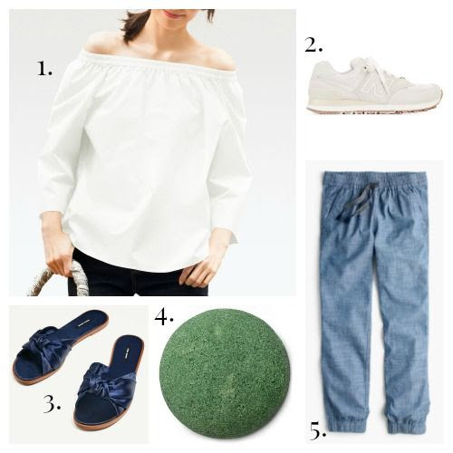 Uniqlo Blouse - New Balance Sneakers - Zara Slides - Lush Scrub - J.Crew Pants