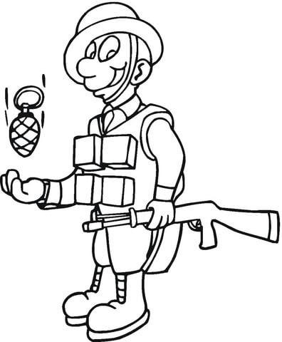 Dibujo De Soldado Con Granada De Mano Para Colorear Dibujos Para