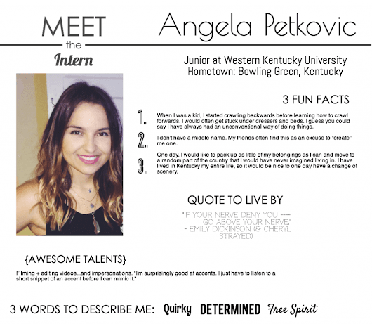 Meet the Intern: Angela Petkovic