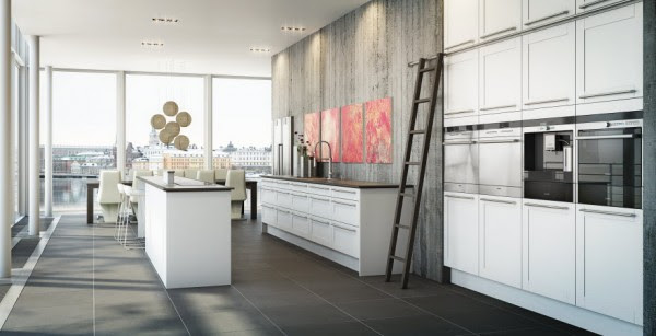 Minimalism with a hint of rustica best describes the form white kitchen from its plethora