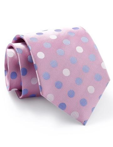 Mẫu Cravat Đẹp 12b - Màu Hồng Chấm Bi Trắng Xanh