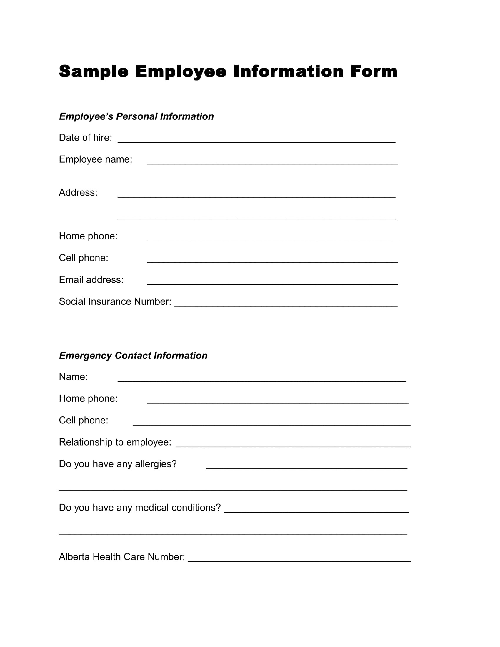 13 Employee Information Forms Free Word Pdf Format