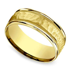 Hammered Milgrain Men's Wedding Ring in Yellow Gold