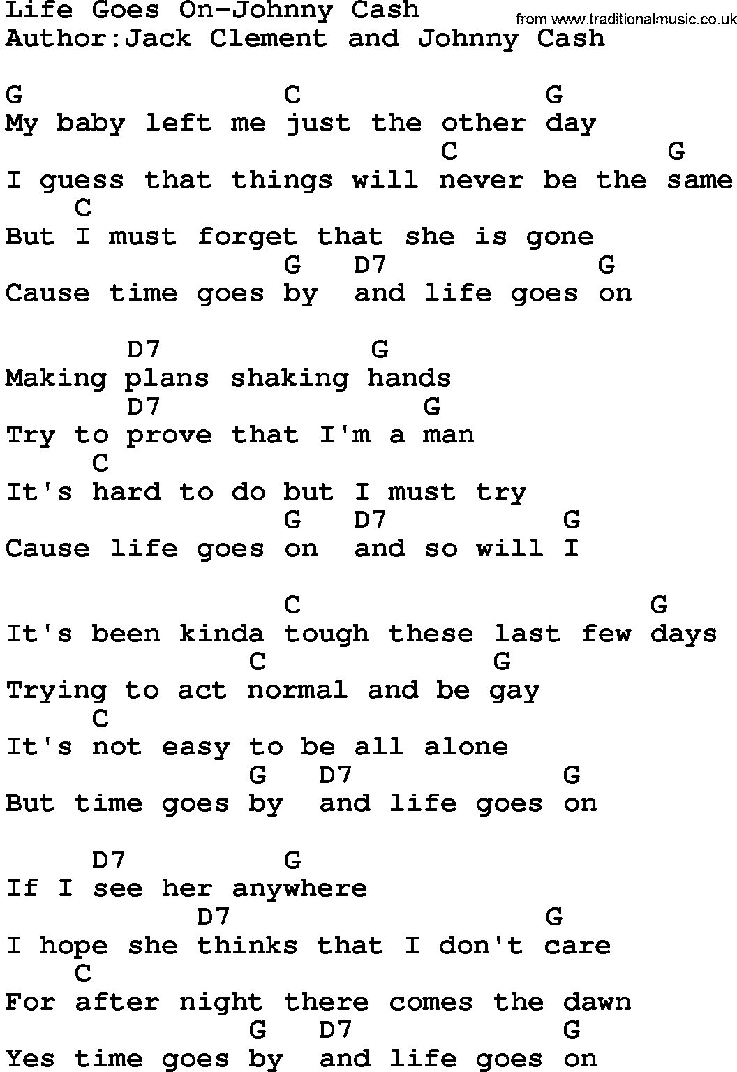 Country Musiclife Goes On Johnny Cash Lyrics And Chords