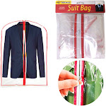 AllTopBargains 3X Clear Foldable Garment Bags 34 inch Suit Dress Jacket Cover Zipper Storage Travel, Red