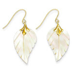 14kt Yellow Gold Mother of Pearl Leaf Dangle Earrings