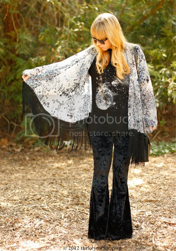 fringe kimono jacket, velvet bell bottoms, Los Angeles fashion blog, southern California style