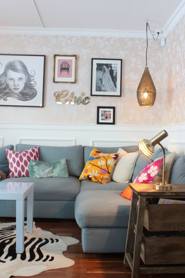 Gray Sofa / Bright Pillows